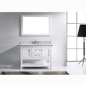 Julianna 48'' Single Bathroom Vanity Set in White, Italian Carrara White Marble Top with Square Sink, Available with Optional Faucet, Mirror Included