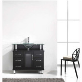 Vincente 36'' Single Bathroom Vanity in Espresso, Clear Tempered Glass Countertop with Integrated Round Sink