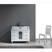 Vincente 36'' Single Bathroom Vanity in White, Clear Tempered Glass Countertop with Integrated Round Sink