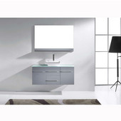 Marsala 48'' Wall Mounted Single Bathroom Vanity Set in Grey, Clear Tempered Glass Top with Square Vessel Sink, Faucet Available in 2 Finishes, Mirror Included