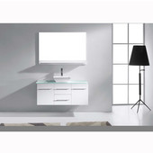 Marsala 48'' Wall Mounted Single Bathroom Vanity Set in White, Clear Tempered Glass Top with Square Vessel Sink, Faucet Available in 2 Finishes, Mirror Included