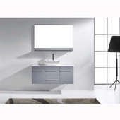 Marsala 48'' Wall Mounted Single Bathroom Vanity Set in Grey, White Engineered Stone Top with Square Vessel Sink, Faucet Available in 2 Finishes, Mirror Included