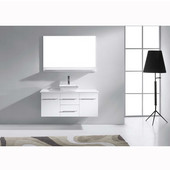 Marsala 48'' Wall Mounted Single Bathroom Vanity Set in White, White Engineered Stone Top with Square Vessel Sink, Faucet Available in 2 Finishes, Mirror Included