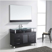 Vincente 48'' Single Bathroom Vanity in Espresso, Clear Tempered Glass Countertop with Integrated Round Sink