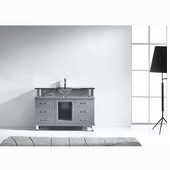 Vincente 48'' Single Bathroom Vanity in Grey, Clear Tempered Glass Countertop with Integrated Round Sink