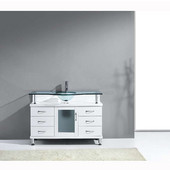 Vincente 48'' Single Bathroom Vanity in White, Clear Tempered Glass Countertop with Integrated Round Sink