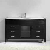 Ava 55'' Single Bathroom Vanity Set in Espresso, White Engineered Stone Top with Undermount Round Sink, Polished Chrome Faucet