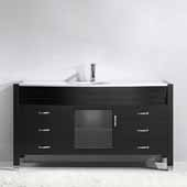 Ava 61'' Single Bathroom Vanity Set in Espresso, White Engineered Stone Top with Integrated Glass Round Sink, Polished Chrome Faucet