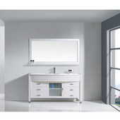 Ava 61'' Single Bathroom Vanity Set in White, White Engineered Stone Top with Undermount Round Sink, Brushed Nickel Faucet, Mirror Included