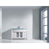 Ava 48'' Single Bathroom Vanity Set in White, Aqua Tempered Glass Top with Integrated Glass Round Sink, Polished Chrome Faucet
