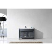 Ava 48'' Single Bathroom Vanity Set in Grey, White Engineered Stone Top with Integrated Glass Round Sink, Polished Chrome Faucet