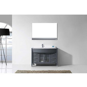 Ava 48'' Single Bathroom Vanity Set in Grey, White Engineered Stone Top with Integrated Glass Round Sink, Polished Chrome Faucet, Mirror Included