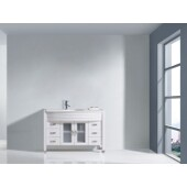 Ava 48'' Single Bathroom Vanity Set in White, White Engineered Stone Top with Integrated Glass Round Sink, Polished Chrome Faucet