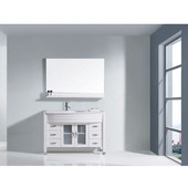 Ava 48'' Single Bathroom Vanity Set in White, White Engineered Stone Top with Integrated Glass Round Sink, Faucet Available in 2 Finishes, Mirror Included