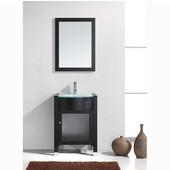Ava 24'' Single Bathroom Vanity Set in Espresso, Aqua Tempered Glass Top with Integrated Glass Round Sink, Faucet Available in 2 Finishes, Mirror Included