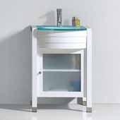 Ava 24'' Single Bathroom Vanity Set in White, Aqua Tempered Glass Top with Integrated Glass Round Sink, Polished Chrome Faucet