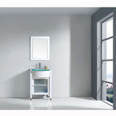 Ava 24'' Single Bathroom Vanity Set in White, Aqua Tempered Glass Top with Integrated Glass Round Sink, Faucet Available in 2 Finishes, Mirror Included
