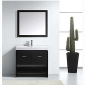 Gloria 36'' Single Bathroom Vanity Set in Espresso, White Ceramic Top with Integrated Square Sink, Polished Chrome Faucet, Framed Mirror Included