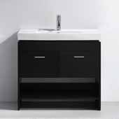 Gloria 36'' Single Bathroom Vanity Set in Espresso, White Ceramic Top with Integrated Square Sink, Polished Chrome Faucet