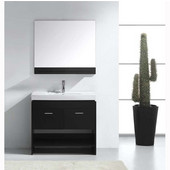 Gloria 36'' Single Bathroom Vanity Set in Espresso, White Ceramic Top with Integrated Square Sink, Faucet Available in 2 Finishes, Mirror with Shelf Included