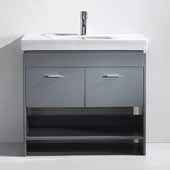 Gloria 36'' Single Bathroom Vanity Set in Grey, White Ceramic Top with Integrated Square Sink, Polished Chrome Faucet