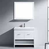 Gloria 36'' Single Bathroom Vanity Set in White, White Ceramic Top with Integrated Square Sink, Polished Chrome Faucet, Framed Mirror Included
