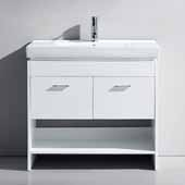 Gloria 36'' Single Bathroom Vanity Set in White, White Ceramic Top with Integrated Square Sink, Polished Chrome Faucet