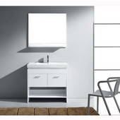 Gloria 36'' Single Bathroom Vanity Set in White, White Ceramic Top with Integrated Square Sink, Faucet Available in 2 Finishes, Mirror with Shelf Included