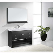Gloria 48'' Single Bathroom Vanity Set in Espresso, White Ceramic Top with Integrated Square Sink, Faucet Available in 2 Finishes, Mirror with Shelf Included