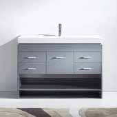 Gloria 48'' Single Bathroom Vanity Set in Grey, White Ceramic Top with Integrated Square Sink, Polished Chrome Faucet