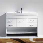 Gloria 48'' Single Bathroom Vanity Set in White, White Ceramic Top with Integrated Square Sink, Polished Chrome Faucet