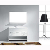 Gloria 48'' Single Bathroom Vanity Set in White, White Ceramic Top with Integrated Square Sink, Faucet Available in 2 Finishes, Mirror with Shelf Included