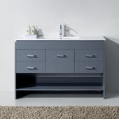 Gloria 48'' Single Bath Vanity Set, Grey Cabinet with Slim White Ceramic Top, Integrated Square Sink and Polished Chrome Faucet, No Mirror