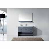 Gloria 48'' Single Bath Vanity Set, Grey Cabinet with Slim White Ceramic Top, Integrated Square Sink and Polished Chrome Faucet