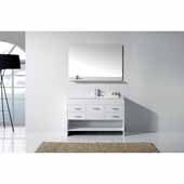 Gloria 48'' Single Bath Vanity Set, White Cabinet with Slim White Ceramic Top with Integrated Square Sink