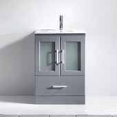 Zola 24'' Single Bathroom Vanity Set in Grey, Slim White Ceramic Top with Integrated Square Sink, Polished Chrome Faucet