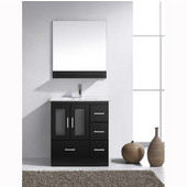 Zola 30'' Single Bathroom Vanity Set in Espresso, Slim White Ceramic Top with Integrated Square Sink, Faucet Available in 2 Finishes, Mirror with Shelf Included