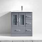 Zola 30'' Single Bathroom Vanity Set in Grey, Slim White Ceramic Top with Integrated Square Sink, Polished Chrome Faucet