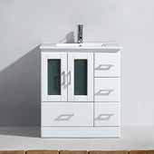 Zola 30'' Single Bathroom Vanity Set in White, Slim White Ceramic Top with Integrated Square Sink, Polished Chrome Faucet