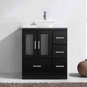 Zola 30'' Single Bathroom Vanity Set in Espresso, White Engineered Stone Top with Square Vessel Sink, Polished Chrome Faucet