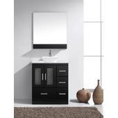 Zola 30'' Single Bathroom Vanity Set in Espresso, White Engineered Stone Top with Square Vessel Sink, Brushed Nickel Faucet, Mirror with Shelf Included