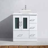 Zola 30'' Single Bathroom Vanity Set in White, White Engineered Stone Top with Square Vessel Sink, Polished Chrome Faucet