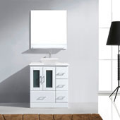 Zola 30'' Single Bathroom Vanity Set in White, White Engineered Stone Top with Square Vessel Sink, Brushed Nickel Faucet, Mirror with Shelf Included
