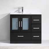 Zola 36'' Single Bathroom Vanity Set in Espresso, Slim White Ceramic Top with Integrated Square Sink, Polished Chrome Faucet