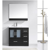Zola 36'' Single Bathroom Vanity Set in Espresso, Slim White Ceramic Top with Integrated Square Sink, Faucet Available in 2 Finishes, Mirror with Shelf Included