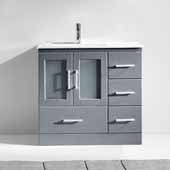 Zola 36'' Single Bathroom Vanity Set in Grey, Slim White Ceramic Top with Integrated Square Sink, Polished Chrome Faucet