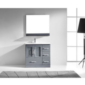 Zola 36'' Single Bathroom Vanity Set in Grey, Slim White Ceramic Top with Integrated Square Sink, Polished Chrome Faucet, Mirror with Shelf Included