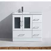 Zola 36'' Single Bathroom Vanity Set in White, Slim White Ceramic Top with Integrated Square Sink, Polished Chrome Faucet