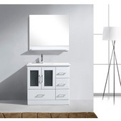 Zola 36'' Single Bathroom Vanity Set in White, Slim White Ceramic Top with Integrated Square Sink, Faucet Available in 2 Finishes, Mirror with Shelf Included