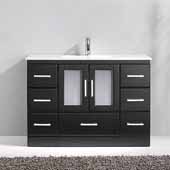 Zola 48'' Single Bathroom Vanity Set in Espresso, Slim White Ceramic Top with Integrated Square Sink, Polished Chrome Faucet